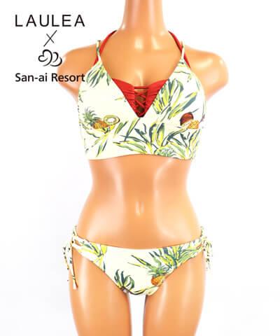 【2020年新作】【LAULEA×San-ai Resort】トロピカルフルーツ柄 バンドゥ・ハーフトップ 水着3点セット 9M