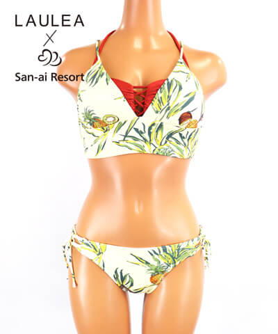 【LAULEA×San-ai Resort】トロピカルフルーツ柄 バンドゥ・ハーフトップ 水着3点セット 9M