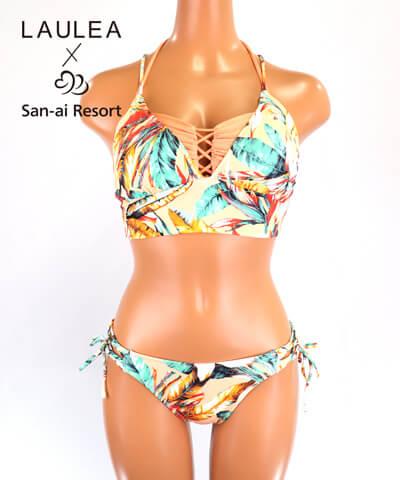 【LAULEA×San-ai Resort】ボタニカルリーフ柄 バンドゥ・ハーフトップ 水着3点セット 9M