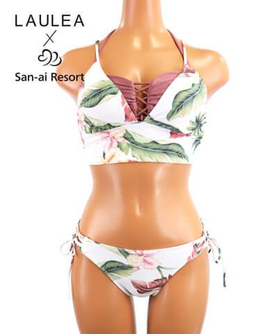 【LAULEA×San-ai Resort】トロピカル柄 バンドゥ・ハーフトップ3点セット 水着 9M