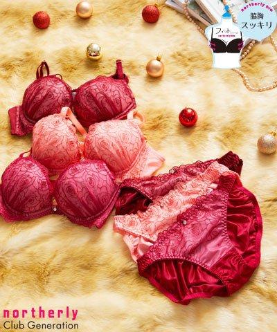 【northerly bra フィットシリーズ 脇胸スッキリ】バラ刺繍L字ブラジャー&ショーツセット B65~F75 【northerly】